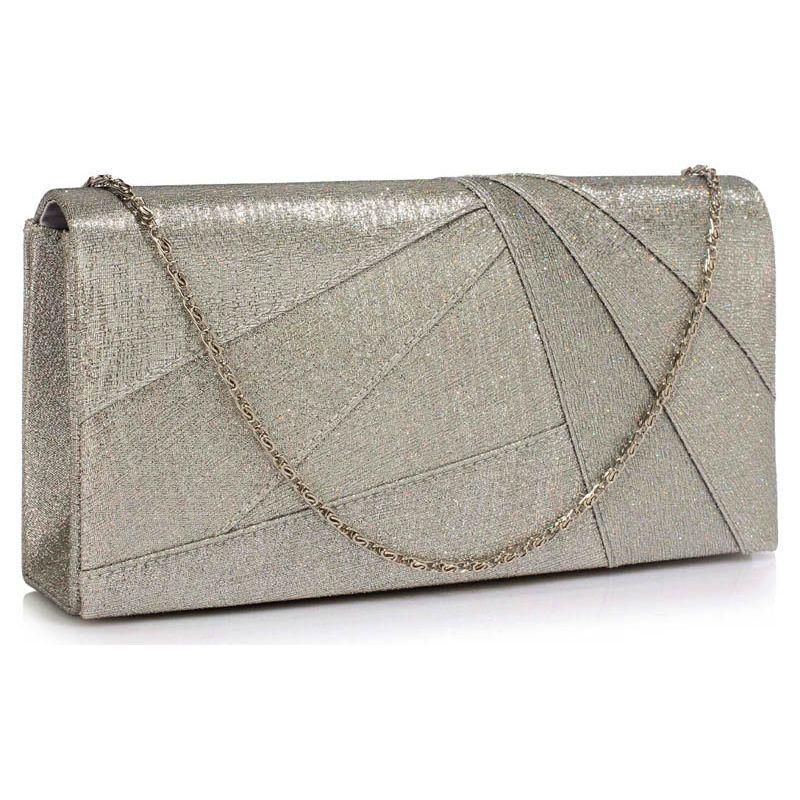 LS328 U2013 Silver Satin Clutch Evening Bag - The Dressy Dress Shop
