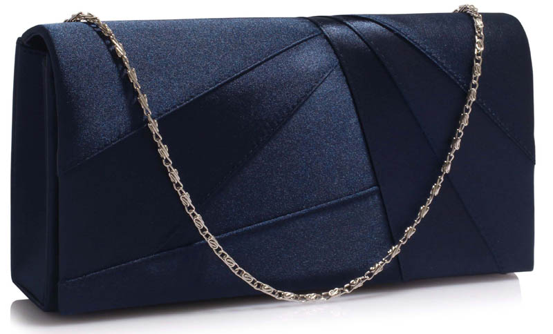LS328A - Navy Satin Clutch Evening Bag - Dressy Dresses