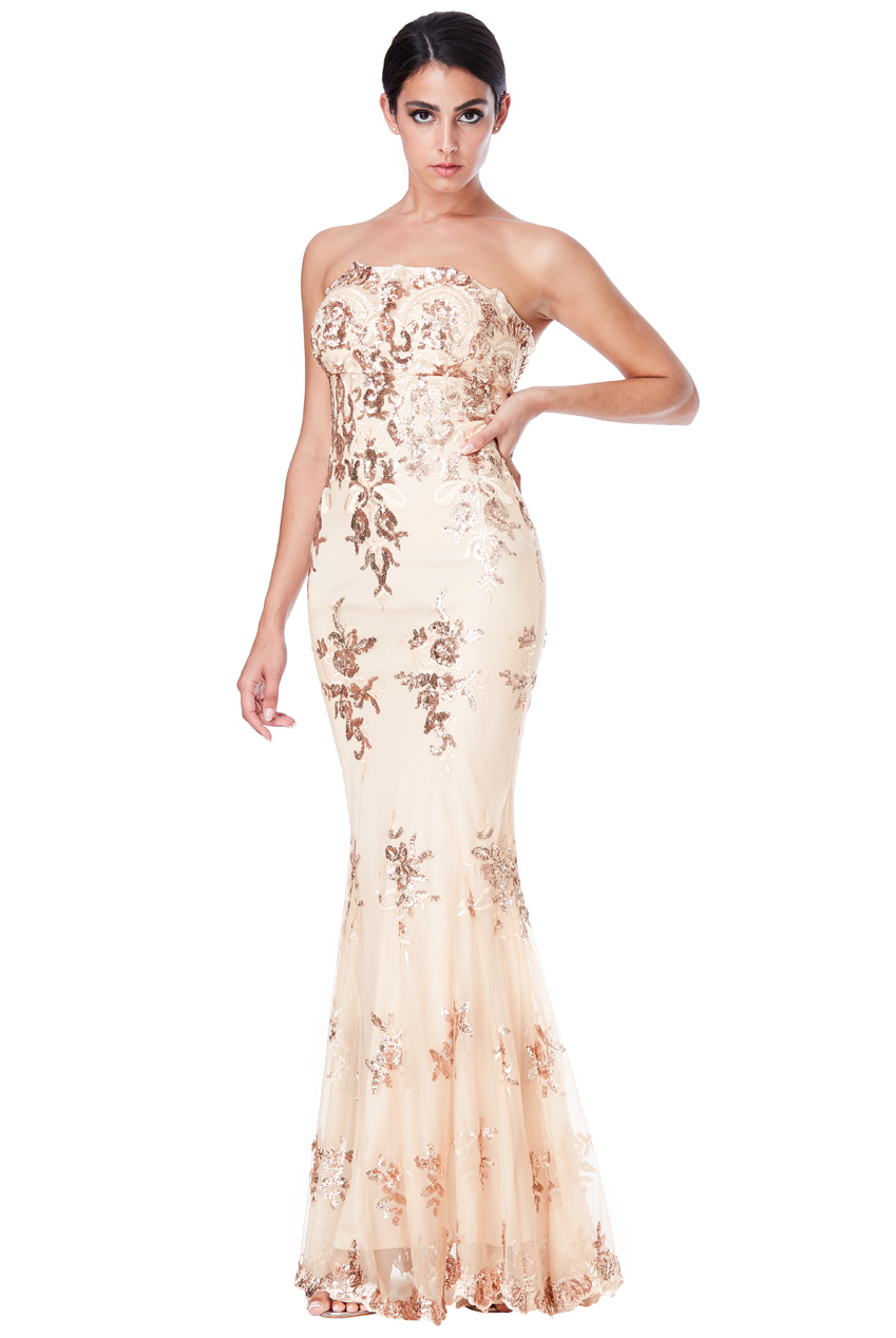 DDR966 – Champagne Evening Gown - Dressy Dresses