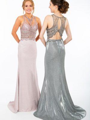 PF9657 – Metallic Sparkle Prom Dress